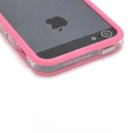 Ochranný silikónový rám pre iPhone 5 - tmavo ružová