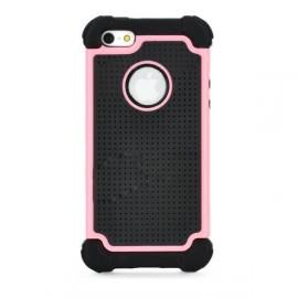 Ochranný protišmykový kryt pre iPhone 5 ružovo-čierny