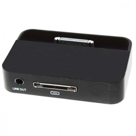 Nabíjacia dokovacia stanica s 3,5 mm Line Out pre iPhone 4 - čierna
