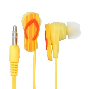 Štýlové slúchadlá v tvare papučky žlté