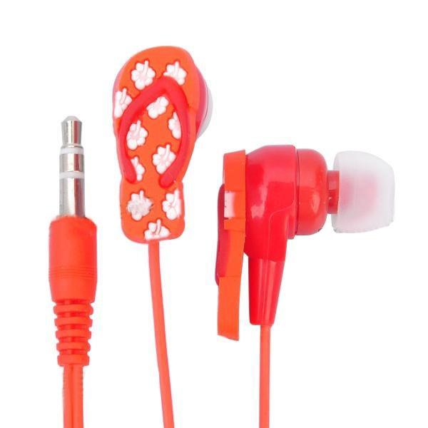 Štýlové slúchadlá v tvare papučky červené