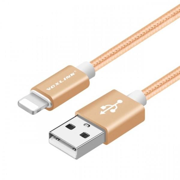 50cm VOXLINK Nylonový USB kábel pre iPhone 8 7 6s Pus 5s iPad mini zlatý