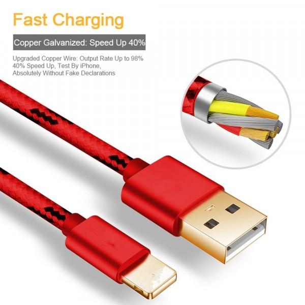 2m červený odolný datový/nabíjací kábel USB pre iPhone/iPod/iPad