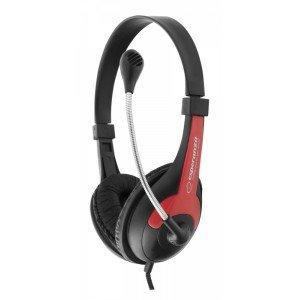 ESPERANZA Stereo slúchadlá s mikrofónom Rooster čierna / červená