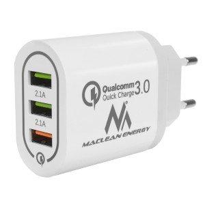 Maclean Energy nabíjačka QC 3.0 MCE479 B - biela Qualcomm Quick Charge 3,6-6V / 3A, 6-9V / 2A, 9-12V / 1,5A