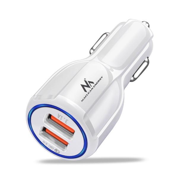 Maclean Energy nabíjačka do auta QC 3.0 MCE478 B - biela Qualcomm Quick Charge QC 3.0 - 5V / 3A, 9V / 1,8A, 12V / 1,6A