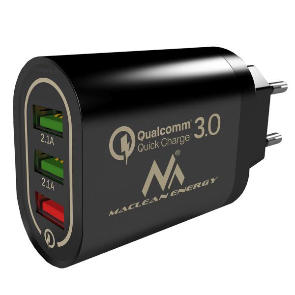 Maclean Energy nabíjačka QC 3.0 MCE479 B - čierna Qualcomm Quick Charge 3,6-6V / 3A, 6-9V / 2A, 9-12V / 1,5A