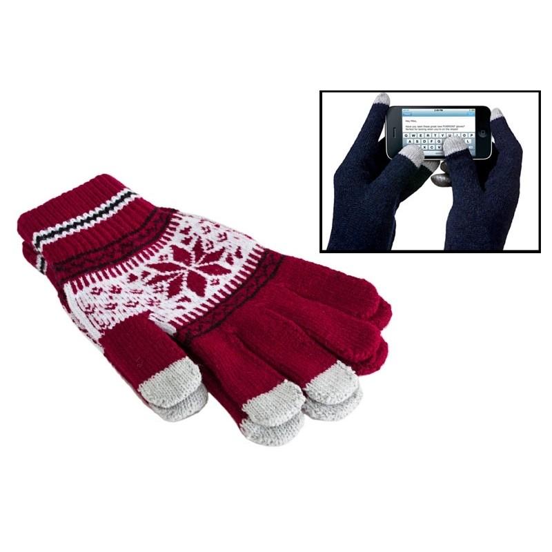 Červené hviezdičkové dotykové rukavice