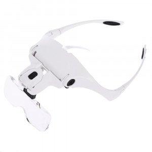 Okuliare s 5ks zväčšovacími sklami a LED osvetlením
