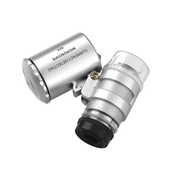Mini mikroskop 60x s LED a UV podsvietením