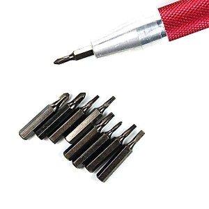 9-dielna sada magnetických skrutkovačov - červená