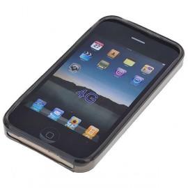 Ochranné silikónové puzdro pre Apple iPhone 4 - priesvitne čierne